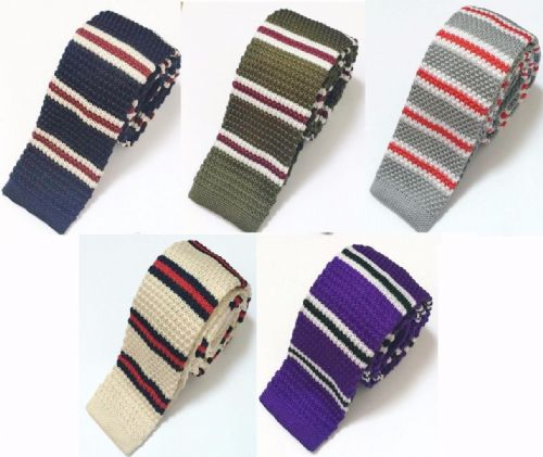 High Quality Men's Fashion Striped Knit Knitted Tie Slim Skinny Woven